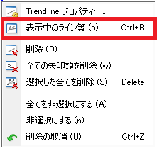 MT4チャート上でラインオブジェクトを選択して右クリックメニューから表示中のライン等を選択して表示中のライン等一覧ウィンドウを表示する
