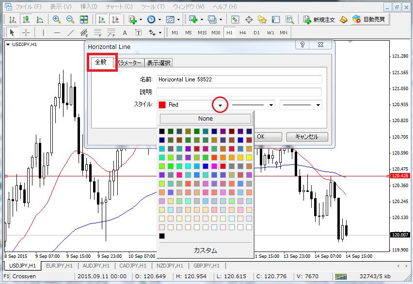 MT4水平線の色を指定する