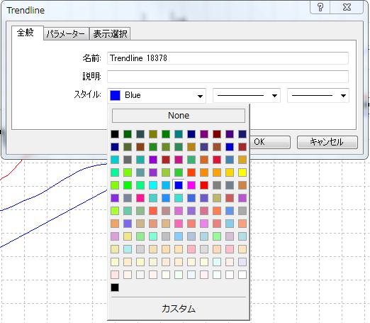 MT4ライン等ラインオブジェクトのプロパティウィンドウ全般タブ色の設定の説明