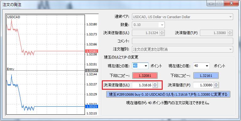 MT4建玉のストップロスをチャート上で変更した価格が注文の発注ウィンドウにセットされる