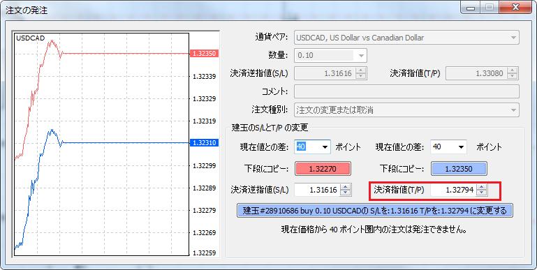 MT4建玉の利確価格をチャート上で変更した価格が注文の発注ウィンドウにセットされる