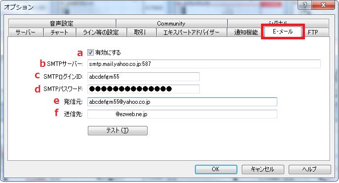 MT4オプションウィンドウE-メール設定の説明