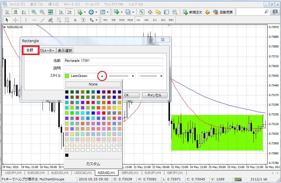 MT4長方形の色を指定します